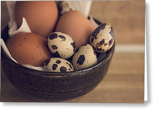 Bowl Of Food Greeting Cards - Fresh Eggs Greeting Card by Heather Applegate