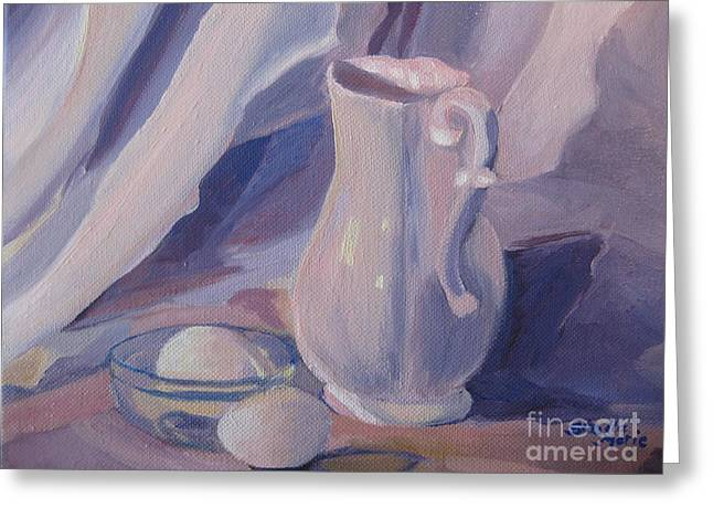 Still Life With Pitcher Greeting Cards - Fresh Farm Eggs Greeting Card by Stella Sherman