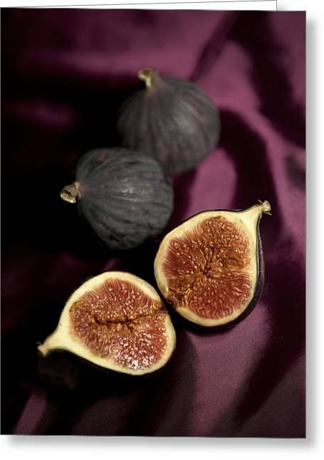 Fresh Figs On Violet Fabric Greeting Card by Jaroslaw Blaminsky