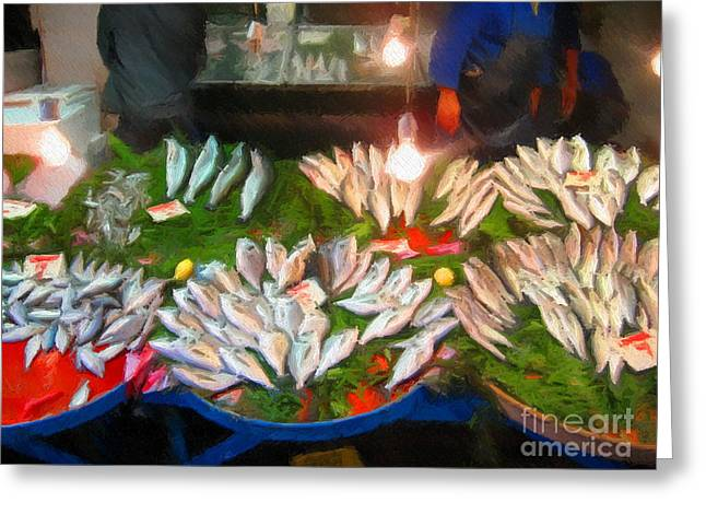 Istanbul Mixed Media Greeting Cards - Fresh Fish in Istanbul Greeting Card by John Kreiter