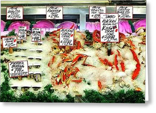 Fresh Fish Panorama Greeting Card by Benjamin Yeager