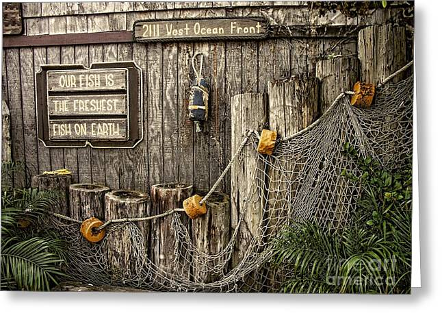 Old Fence Posts Digital Greeting Cards - Fresh Fish Greeting Card by Peggy J Hughes