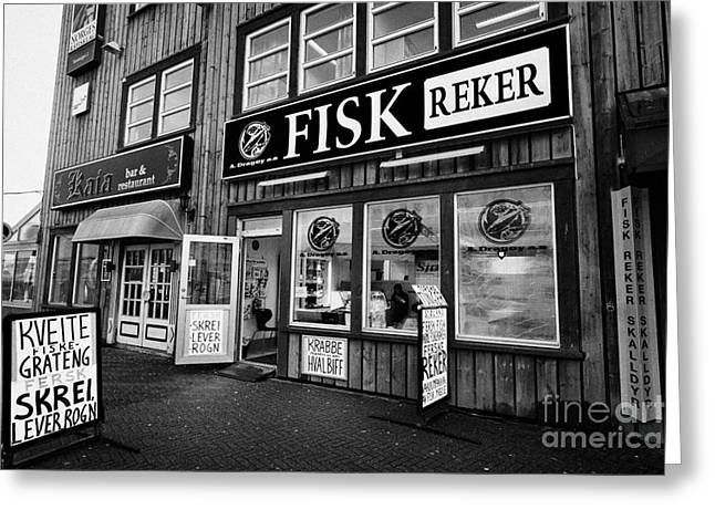 Scandanavian Greeting Cards - fresh fish store fishmonger in market square Tromso troms Norway europe Greeting Card by Joe Fox
