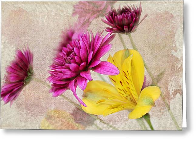 Interior Still Life Greeting Cards - Fresh Flowers Greeting Card by Judy Vincent