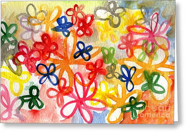 Abstract Flower Greeting Cards - Fresh Flowers Greeting Card by Linda Woods