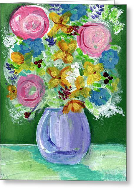 Interior Still Life Mixed Media Greeting Cards - Fresh Flowers- Painting Greeting Card by Linda Woods