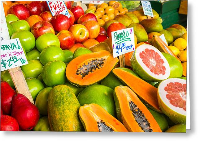 Grocery Store Greeting Cards - Fresh Fruit for Sale Greeting Card by Denise Lett