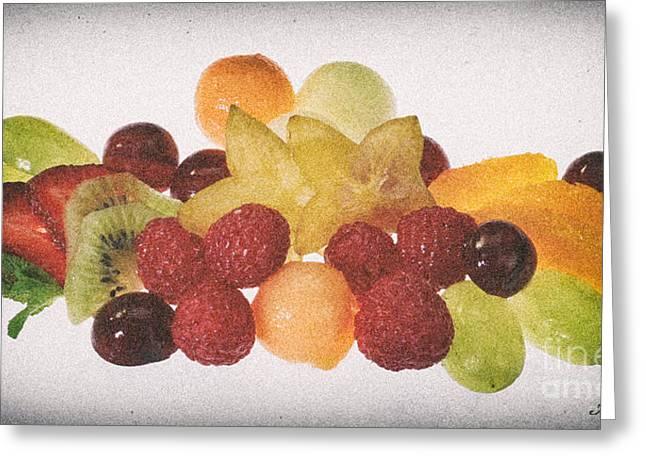 Strawberry Art Greeting Cards - Fresh Fruit Salad Distressed Greeting Card by Iris Richardson