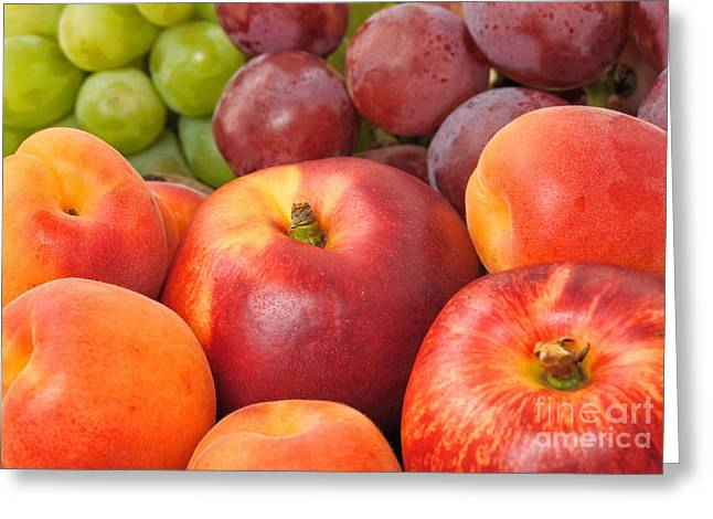 Bunch Of Grapes Greeting Cards - Fresh fruits closeup Greeting Card by Skyfish Images