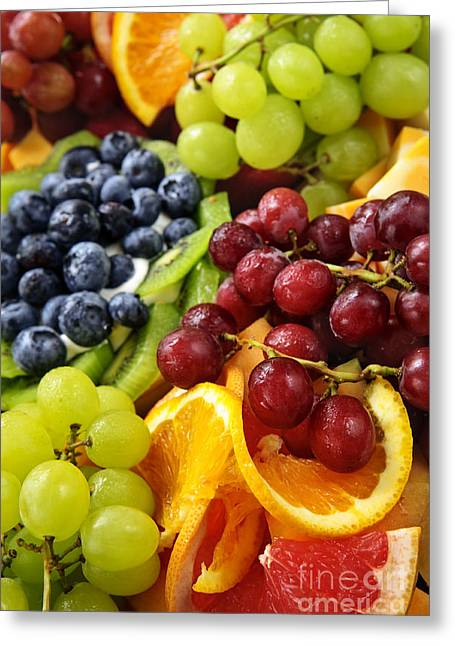 Swiss Cheese Greeting Cards - Fresh Fruits Greeting Card by Elena Elisseeva