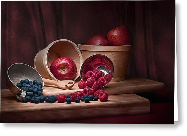 Silver Pitcher Greeting Cards - Fresh Fruits Still Life Greeting Card by Tom Mc Nemar