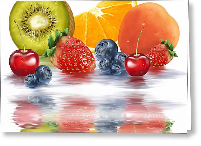 Colorful Reflections Greeting Cards - Fresh fruits Greeting Card by Veronica Minozzi