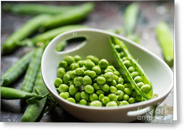Fresh Vegetables Greeting Cards - Fresh Garden Peapods Greeting Card by Edward Fielding