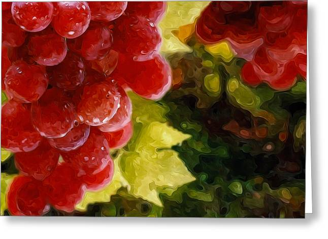 Organic Greeting Cards - Fresh grapes on vine Greeting Card by Lanjee Chee