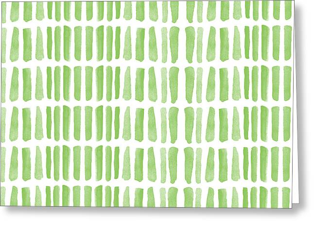 Fresh Grass- Abstract Pattern Painting Greeting Card by Linda Woods
