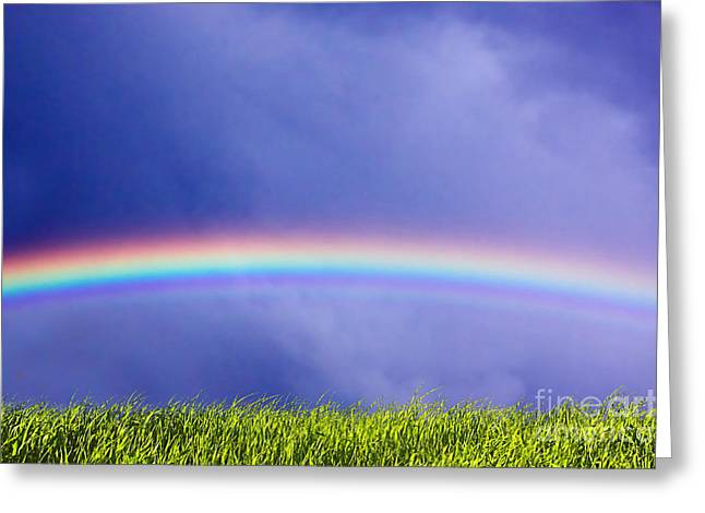 Fresh Grass And Sky With Rainbow Greeting Card by Michal Bednarek