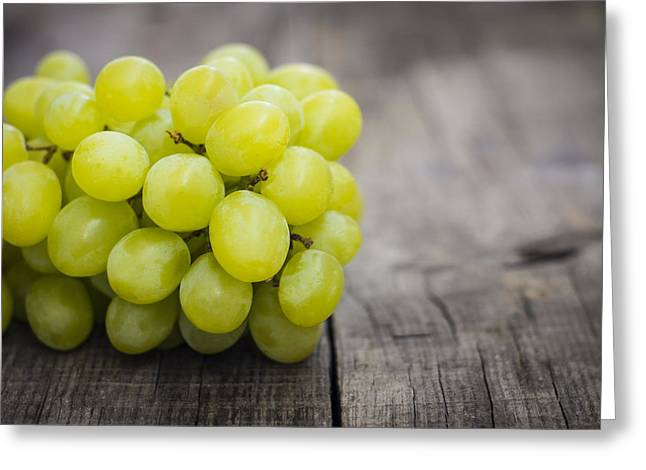 Grape Vines Greeting Cards - Fresh Green grapes Greeting Card by Aged Pixel