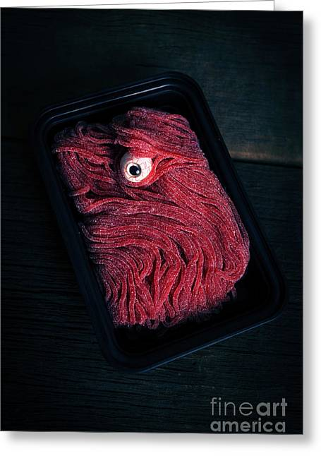 Eyeball Greeting Cards - Fresh Ground Zombie Meat - Its whats for dinner Greeting Card by Edward Fielding