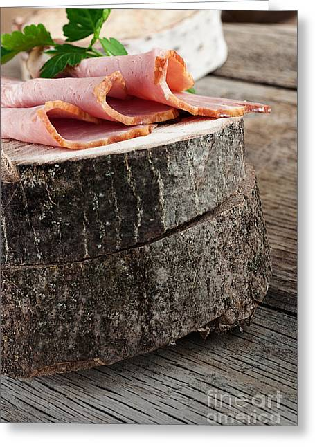 Delicatessen Meat Greeting Cards - Fresh ham Greeting Card by Mythja  Photography
