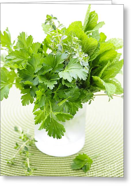 Flavor. Greeting Cards - Fresh herbs in a glass Greeting Card by Elena Elisseeva