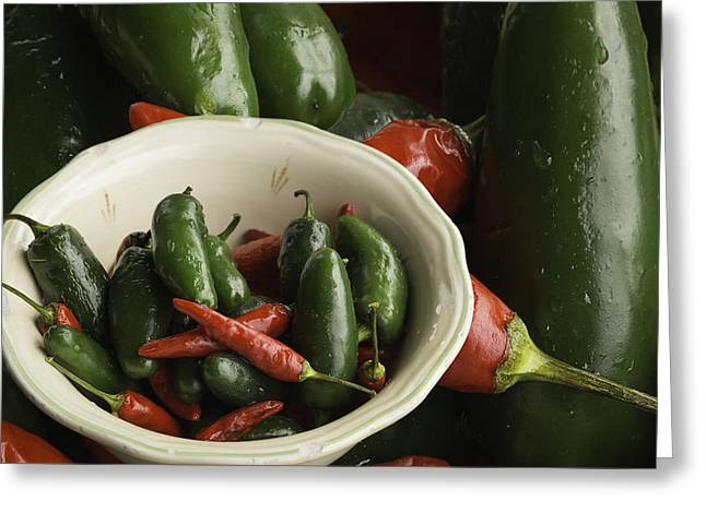 Home Grown Photographs Greeting Cards - Fresh Hot Peppers Greeting Card by Thomas Young