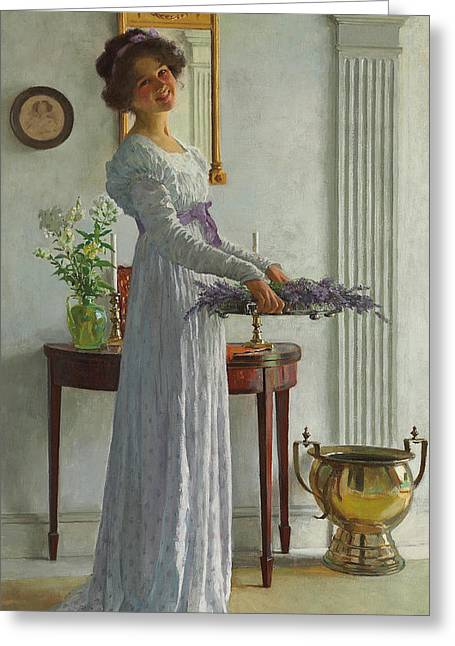 Rosy Greeting Cards - Fresh Lavender Greeting Card by William Henry Margetson