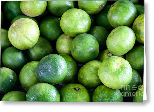 Sour Greeting Cards - Fresh lime fruits Greeting Card by Frank Bach
