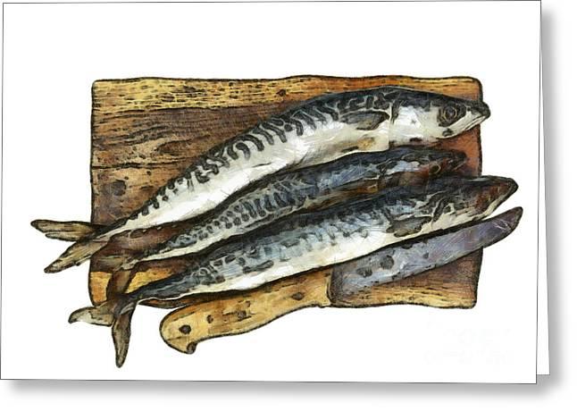 Sustenance Greeting Cards - Fresh mackerel on chopping board Greeting Card by Michal Boubin