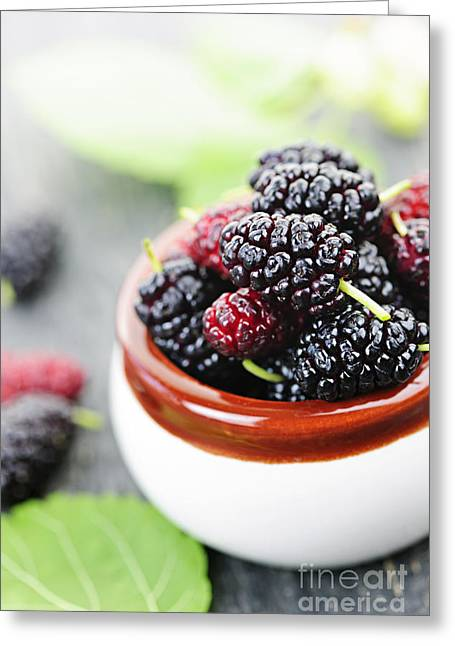Produce Greeting Cards - Fresh mulberries Greeting Card by Elena Elisseeva