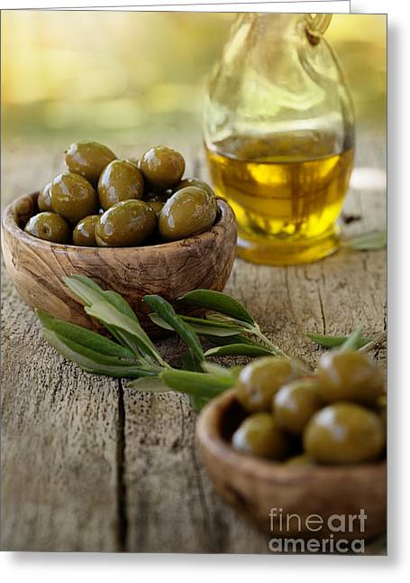 Wooden Bowl Greeting Cards - Fresh olives Greeting Card by Mythja  Photography