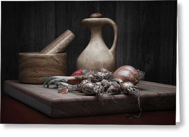 Fresh Onions With Pitcher Greeting Card by Tom Mc Nemar
