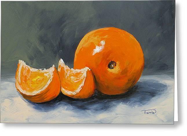 Orange. Greeting Cards - Fresh Orange III Greeting Card by Torrie Smiley