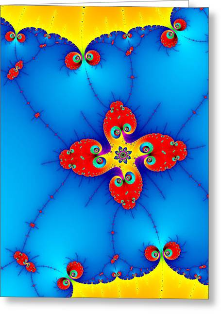 Reds Orange And Blue Greeting Cards - Fresh orange red and blue abstract fractal art Greeting Card by Matthias Hauser