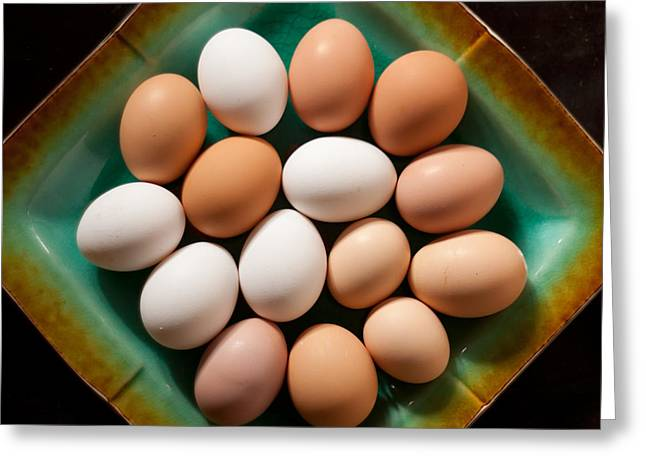 Sustainable Gardening Greeting Cards - Fresh Organic Eggs Greeting Card by Jared Shomo