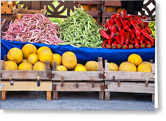 Green Beans Greeting Cards - Fresh Organic Fruits and Vegetables At A Street Market Greeting Card by Leyla Ismet