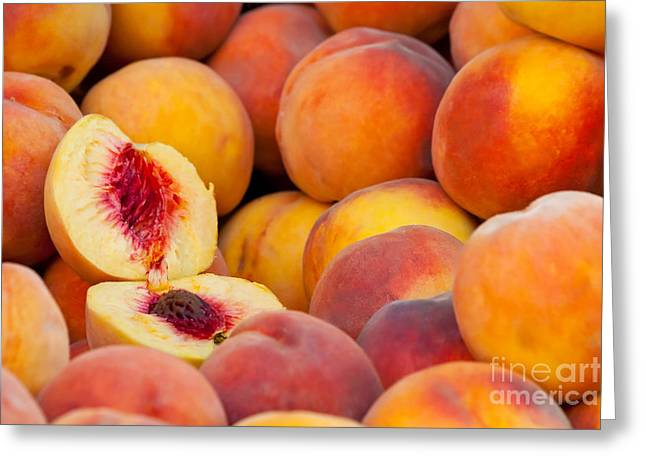 Tangy Photographs Greeting Cards - Fresh Organic Peaches  Greeting Card by Leyla Ismet