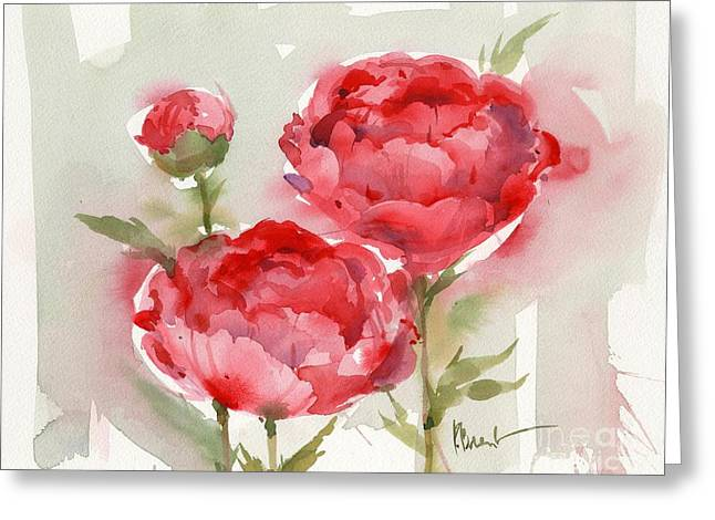 Watercolor. Butterfly Greeting Cards - Fresh Peonies Greeting Card by Paul Brent