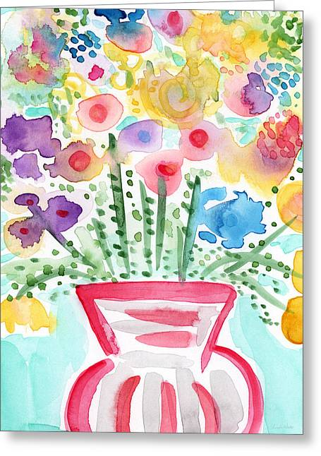 Interior Still Life Mixed Media Greeting Cards - Fresh Picked Flowers- contemporary watercolor painting Greeting Card by Linda Woods