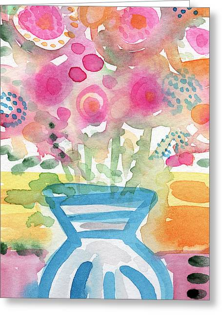 Whimsical Mixed Media Greeting Cards - Fresh Picked Flowers in a Blue Vase- contemporary watercolor painting Greeting Card by Linda Woods