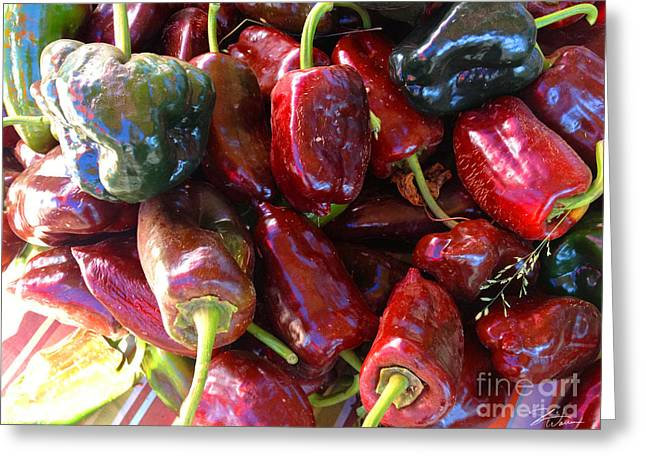 Peppers Greeting Cards - Fresh Picked Peppers  Greeting Card by Shari Warren