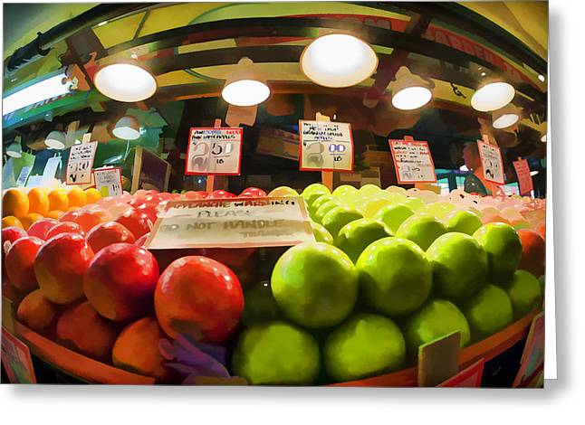 Local Food Places Greeting Cards - Fresh Pike Place Apples Greeting Card by Scott Campbell