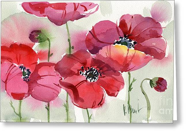 Watercolor. Butterfly Greeting Cards - Fresh Poppies Greeting Card by Paul Brent