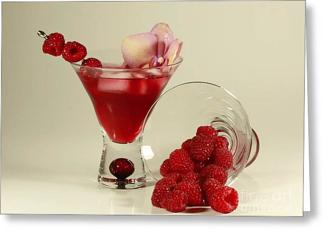 Stylized Beverage Greeting Cards - Fresh Raspberry Cosmos Delight Greeting Card by Inspired Nature Photography By Shelley Myke