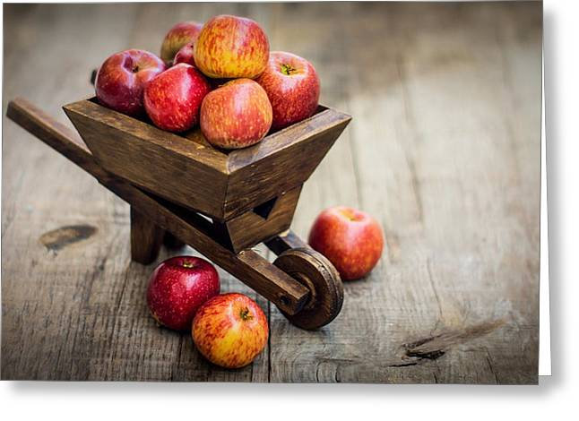 Produce Greeting Cards - Fresh Red Apples Greeting Card by Aged Pixel