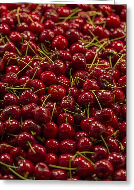 Fun Greeting Cards - Fresh Red Cherries Greeting Card by Scott Campbell