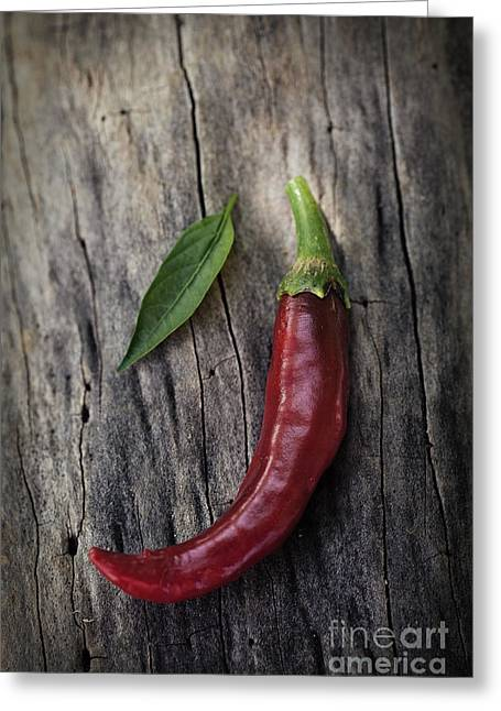 Mythja Greeting Cards - Fresh red chili pepper Greeting Card by Mythja  Photography