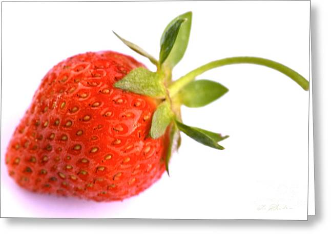 Fresh Red Strawberry Greeting Card by Iris Richardson