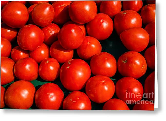 Fresh Food Photographs Greeting Cards - Fresh Ripe Red Tomatoes Greeting Card by Edward Fielding