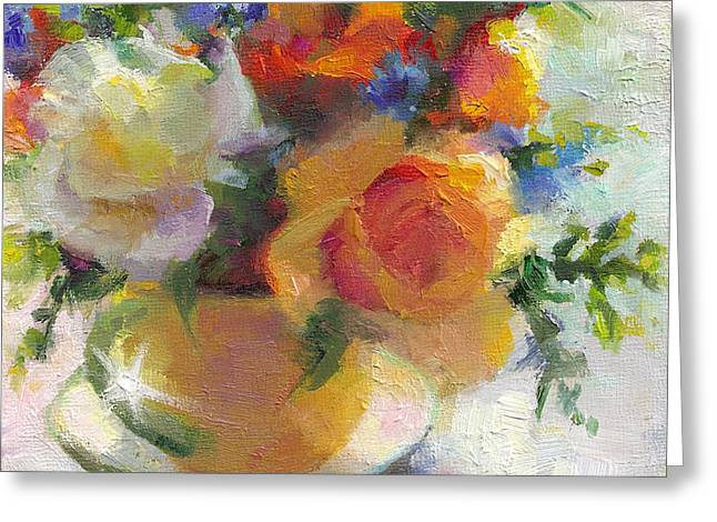 Abstract Expression Greeting Cards - Fresh - Roses in teacup Greeting Card by Talya Johnson