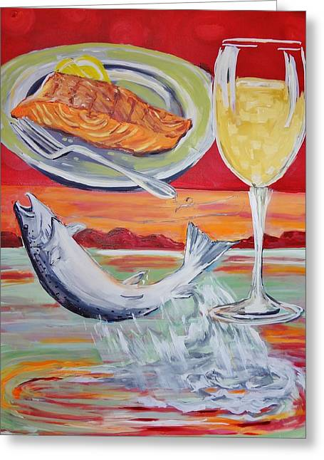Salmon Paintings Greeting Cards - Fresh Salmon Dinner Greeting Card by Shannon Lee